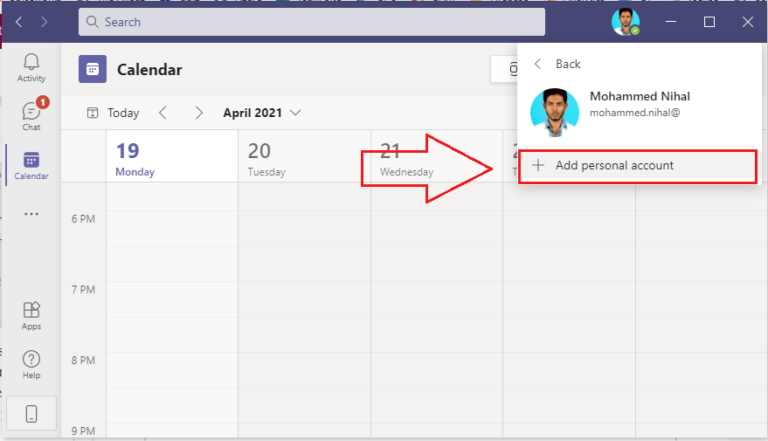 How to switch account in Microsoft Teams