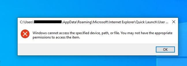 Windows cannot access the specified device, path, or file. You may not have the appropriate permissions to access the item