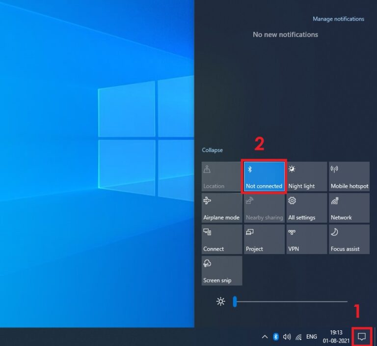 How to turn Off Bluetooth on Windows 10 using Action Center