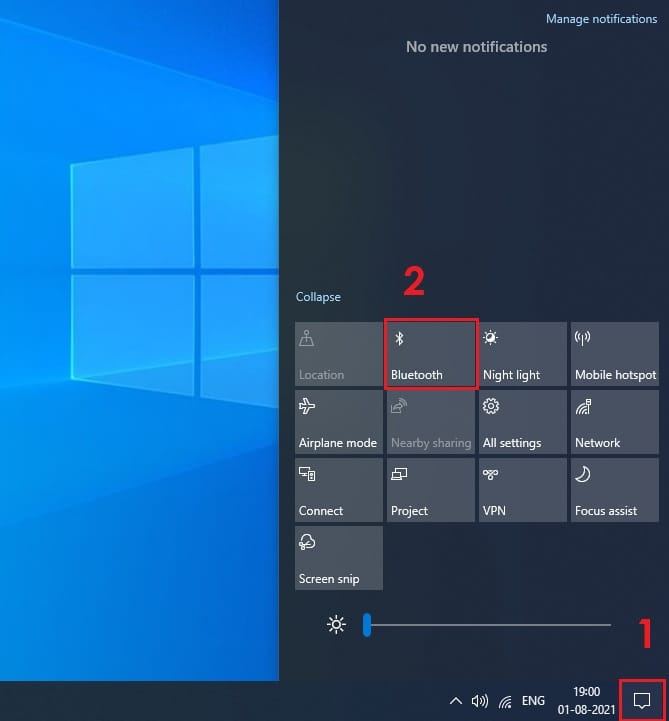 How to turn on Bluetooth on Windows 10 using Action Center