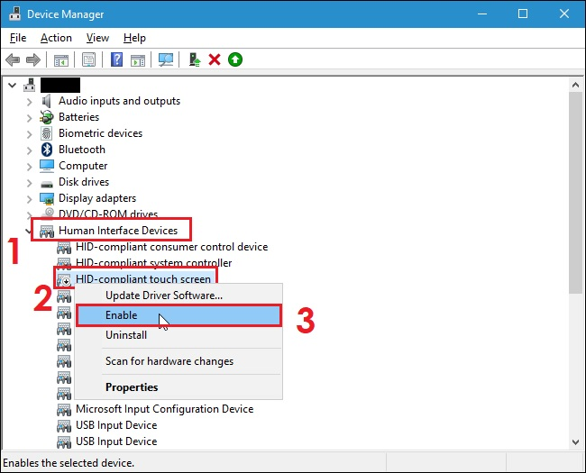 How to turn off touch screen on Windows 10 - Method 01