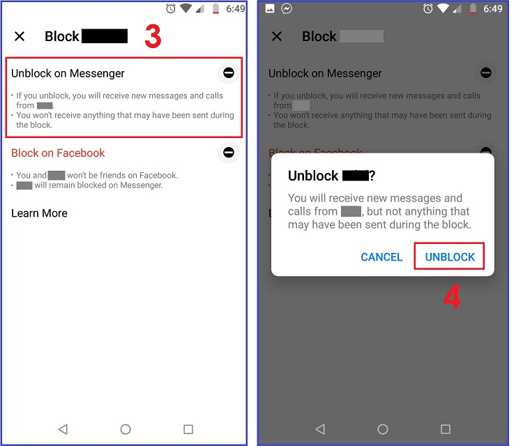 How to UnBlock Someone on Messenger on Android